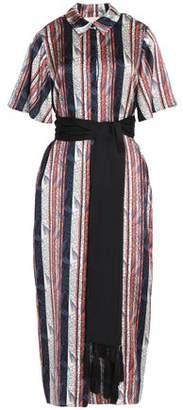 Cinq à Sept Belted Printed Silk-Satin Midi Shirt Dress
