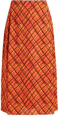 Marni Checked Crepe Midi Skirt - Womens - Orange Print