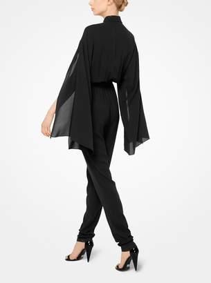 Michael Kors Silk-Georgette Slit-Sleeve Jumpsuit