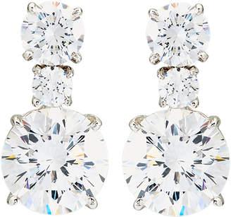 FANTASIA Silver-Tone Double Round Drop Earrings