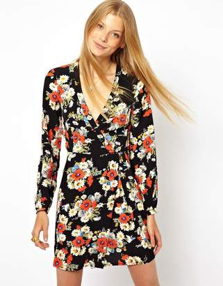 Asos Design Wrap Dress With Tulip Skirt And Long Sleeves In Floral Print