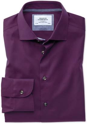 Charles Tyrwhitt Slim Fit Semi-Spread Collar Business Casual Non-Iron Modern Textures Dark Purple Cotton Dress Shirt Single Cuff Size 16/35