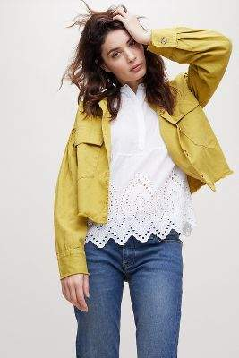 Evidnt Elitza Cropped Pleated-Sleeve Jacket