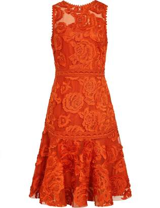 Reiss Adia - Lace Fit And Flare Dress in Winter Orange