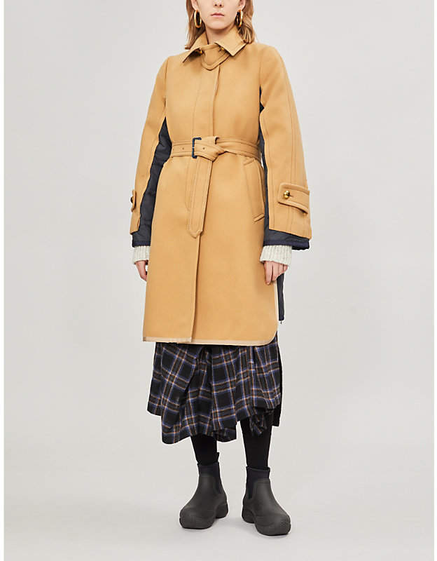 Hybrid wool and shell coat