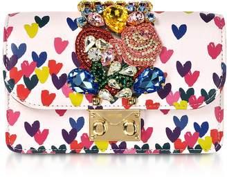 Gedebe Mini Cliky Pink Nappa Printed Hearts Clutch w/Chain Strap
