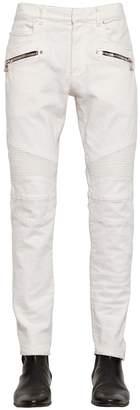 Balmain 16cm Biker Stretch Cotton Denim Jeans