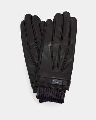 Ted Baker FRINGE Ribbed cuff leather gloves