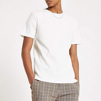 River Island Mens Ecru RI jacquard T-shirt