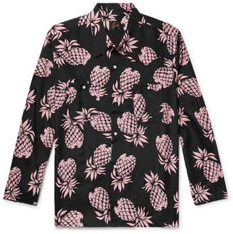 Needles Camp-Collar Printed Matte-Satin Shirt