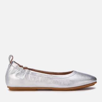 02252e0cef62 FitFlop Women s Allegro Leather Ballet Flats - Silver