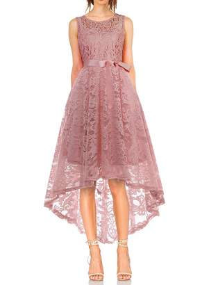 KT SUPPLY Women's Vintage Floral Lace Sleeveless Hi-Lo Cocktail Bridesmaid Formal Party Dress L
