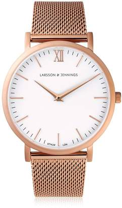 Larsson & Jennings Lugano 40mm Rose Gold & White Watch