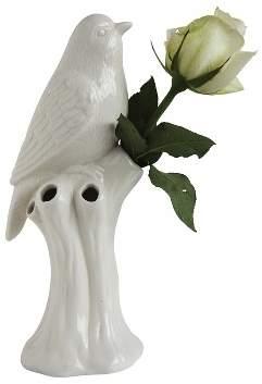 """3R Studios Stoneware Bird Vase (10"""") - White"""