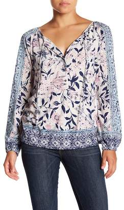 Lucky Brand Front Tie Split Neck Blouse