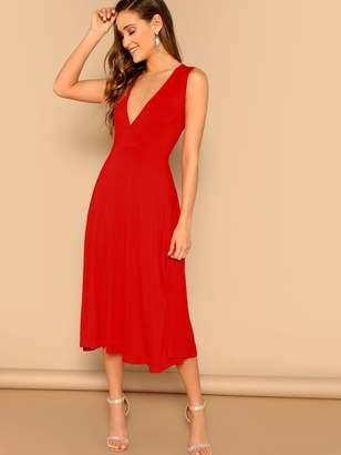 ed159a8fba79 Shein Surplice Plunge Flowy Midi Dress