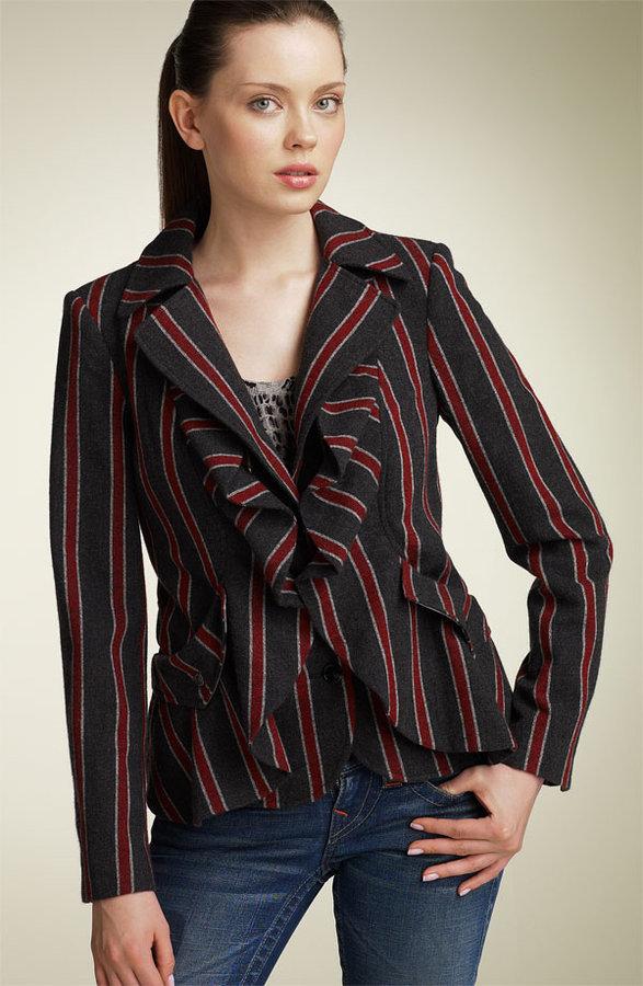 L.A.M.B. Stripe Ruffle Blazer
