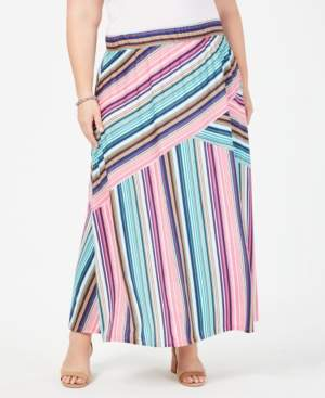 NY Collection Plus Size Striped Pull-On Maxi Skirt