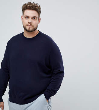 Burton Menswear Big & Tall crew neck jumper in navy