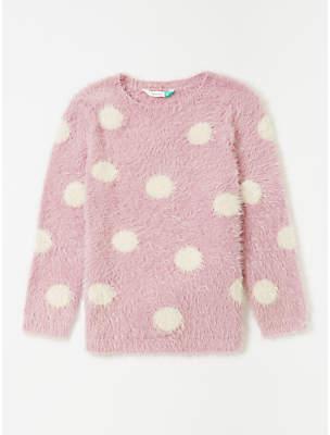 John Lewis & Partners Girls' Spot Eyelash Jumper, Pink