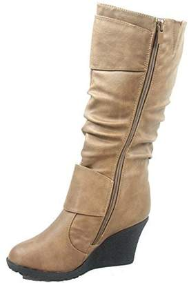 91d182e8920a at Amazon Canada · Top Moda Pure-65 Women s Fashion Round Toe Slouch Buckle  Wedge Mid Calf Boot Shoes