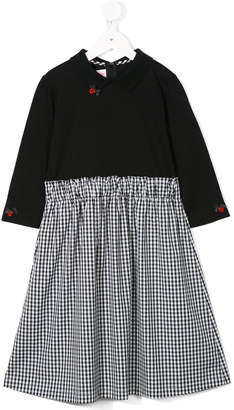 Familiar dress with checked skirt