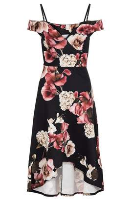 Quiz Black Wine And Stone Floral Print Dip Hem Dress