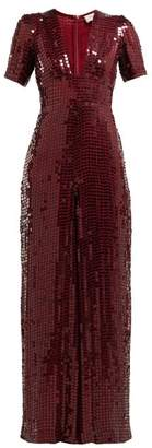 Temperley London Heart Sequinned Crepe Jumpsuit - Womens - Dark Red