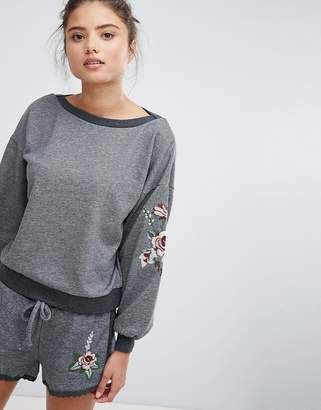Hunkemoller Relaxed Volume Lounge Embroidered Sweater