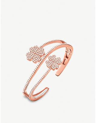 Folli Follie Miss Heart4heart four-leaf clover rose gold-plated and cubic zirconia bracelet