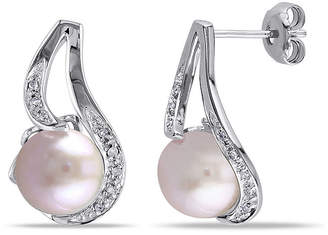 FINE JEWELRY Pink Cultured Freshwater Pearl & Diamond Accent Sterling Silver Earrings