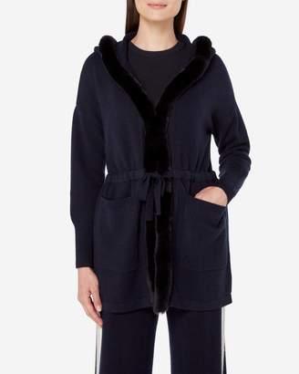 N.Peal Fur Trim Hooded Cardigan