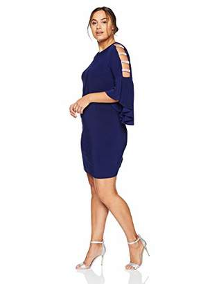 MSK Women's Plus Size Bell Dress with Rhinestone Sleeve Detail