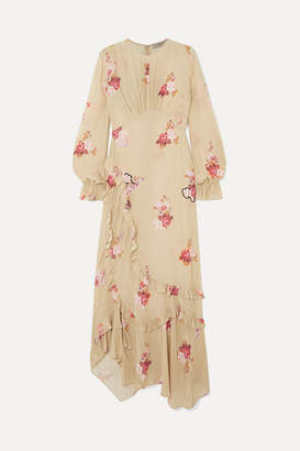 Preen Line Gabriella Asymmetric Ruffled Floral-print Crepe De Chine Maxi Dress - Neutral