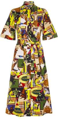 Burberry Archive Scarf Print Midi Shirt Dress