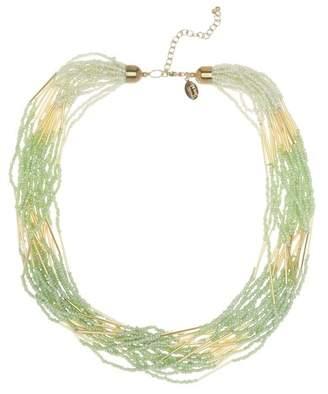 Spring Street Multi Row Tonal Mint Seed Bead Necklace