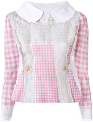 Comme des Garcons embroidered vichy blouse