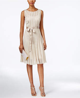 SL Fashions Metallic Belted A-Line Dress $109 thestylecure.com
