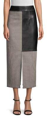 Yigal Azrouel Tweed Leather Panel Midi Pencil Skirt