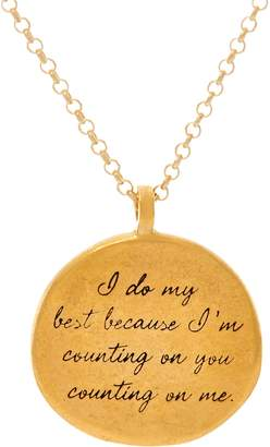 """Dogeared Maya Angelou """"I do my best"""" 14K Gold Plated Quote Pendant"""