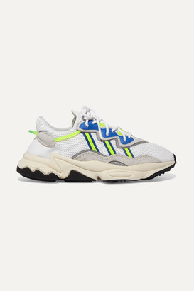 adidas Ozweego Suede, Rubber And Grosgrain-trimmed Mesh Sneakers - Gray