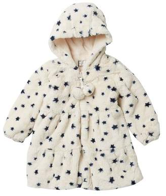 WIDGEON Hooded Faux Fur Swing Coat (Toddler Girls)