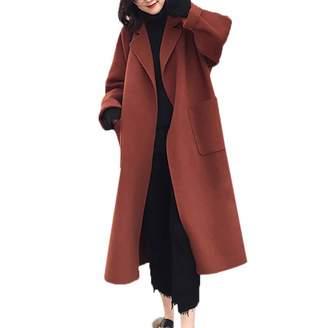 Hunzed women coat Autumn and Winter Warm Retro Cashmere Comfortable Woolen Coat