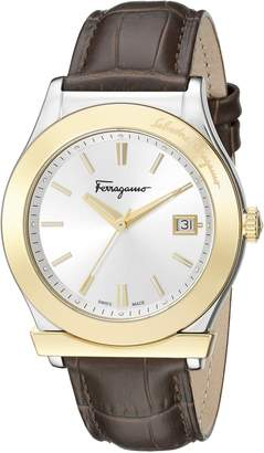 Salvatore Ferragamo Men's FF3920015 1898 Stainless Steel and Gold Ion-Plated Watch with Brown Leather Band