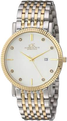 Adee Kaye Men's Quartz Stainless Steel Dress Watch, Color:Two Tone (Model: AK4801-MTTG)