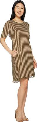 Logo By Lori Goldstein LOGO by Lori Goldstein Stripe Linen Knit Dress with Lace at Hem