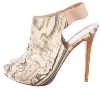 Alexander McQueen Peep-Toe Slingback Booties