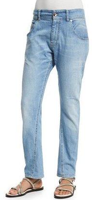 Brunello Cucinelli Distressed Boyfriend Jeans, Light Denim $945 thestylecure.com