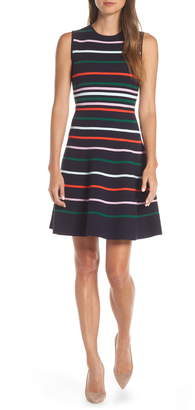 Vince Camuto Stripe Fit & Flare Sweater Dress