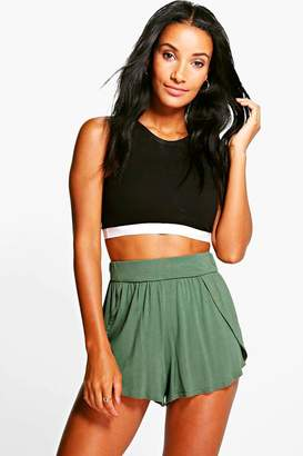 boohoo Lolah Wrap Over Jersey Shorts